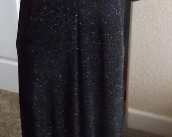 SALE Womens Stretch Black Metallic Evening Dress Goth