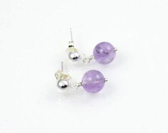 Purple ametrine earrings, purple gemstone earring, purple semi precious gemstone, gemstone and sterling silver drop earrings, dangle earring