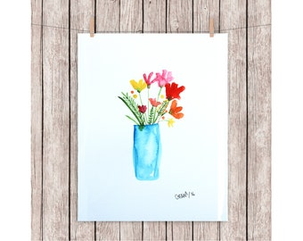 "ORIGINAL watercolor painting FLOWERS A4 210 X 297 mm (8,3"" x 11,7"")"