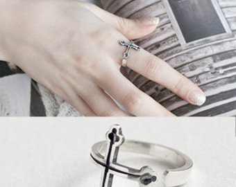 Vintage Cross Ring 925 Silver Black Vintage Cross ring Adjustable Open Ring Knuckle Ring Multifinger Ring Birthday Holiday Christmas Gift
