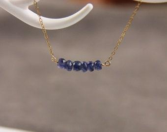 Saphire Necklace, Beaded Necklace,Ruby Necklace, Gemstone Necklace, Bar Necklace, September Birthstone Necklace, Birthstone Jewelry