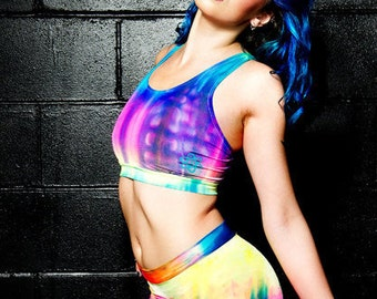 Holographic Mid Waist Hot Pants - Pole Fitness - Aerial - Dancewear - Rave - Club Shorts - Plus size available