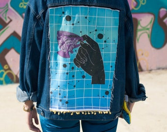 """Oversized loose Denim jacket embellished with our """"Mystic Space coffee time"""" design"""