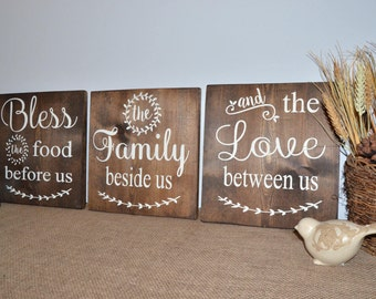 Bless The Food Before Us Family Beside Us And Love Between Us, Wooden Sign, Dining Room Kitchen Sign, Custom Sign, 3 Piece Set