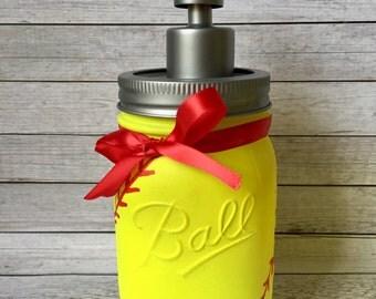 Softball Mason Jar. Softball Soap Dispenser. Painted Mason Jar. Softball Bathroom  Decor.