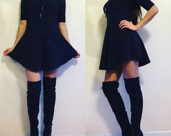 Curved Hem Skater Dress / Curved Hem / Skater Dress / Three Quarter Sleeve Dress / Curved Hem Dress / Black Dress / Mini Dress / Dress