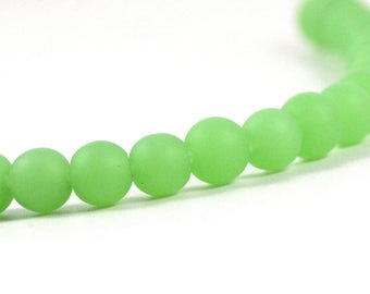 Recycled Cultured Sea Glass Round Beads Jadeite Seafoam Pale Green 8mm