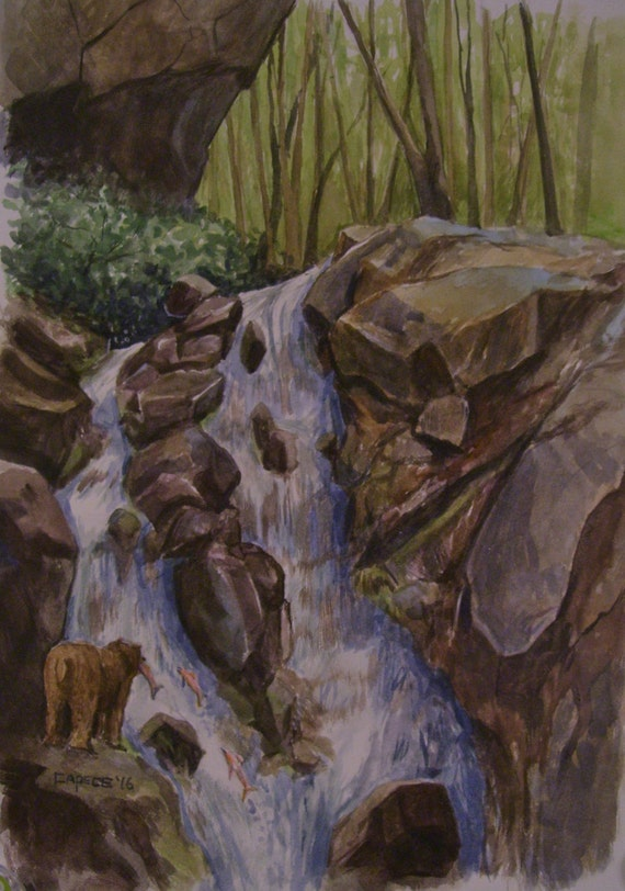 Bear at The Falls, 16 x 20 Original Watercolor,ONE OF A KIND, Not a Print,Free Shipping Code SKYE2