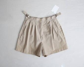side cinch shorts   70s skirt   high waist kaki shorts