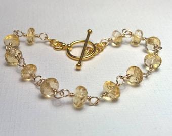 Citrine Bracelet, Stacking Bracelet, Gold Filled, Wire Wrap, Faceted Rondelles, Plain Vermeil Toggle Clasp