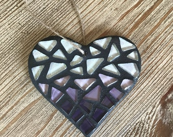 Stained Glass Mosaic Heart Ornament, Purple Ombre, Wedding Gift, Heart Decor, Anniversary, Love, Gift for Teacher, Christmas Ornament