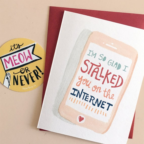 Internet Stalker Valentine Card Love Witty Funny Phone – Stalker Valentine Card