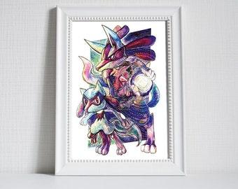 Pokemon Print - Lucario and Riolu