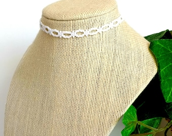 "Seed Bead Choker, White Beaded Boho Choker, Unique Choker for Women, Handmade Jewelry, Gift for Her, 12"" to 15"""