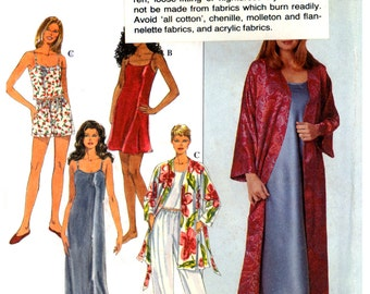 90s Simplicity 8666 Sleepwear: Slip, Nightgown, Camisole, Pants or Shorts and Robe, Uncut, Factory Folded, Sewing Pattern Multi Size XS-M