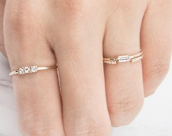 White Sapphire Ring, Engagement ring, Unique engagement ring, Baguette Ring,  Diamond alternative ring, Solid gold ring