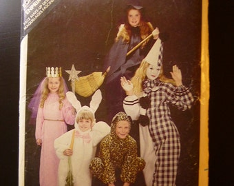 Butterick 3372,AS IS,girls costume,halloween,leopard,clown,fairy,bunny,witch