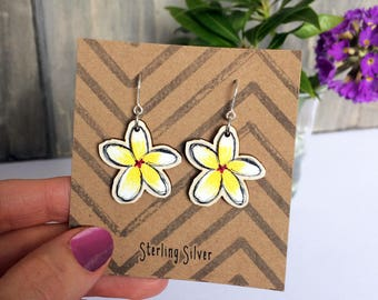 Frangipani Floral Earrings, wooden charm jewellery with Sterling Silver hooks, unique yellow white tropical flower gift for plant lover UK