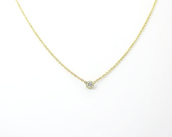 Round Diamond Necklace ~ Gold Diamond Pendant ~ Simple Diamond Necklace ~ Petite Diamond ~ Minimalist Diamond Necklace ~ Kat Jewelry Design