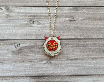 Princess Mononoke mask necklace - Miyazaki, studio Ghibli, kawaii, cute, geek, Japan, japanese