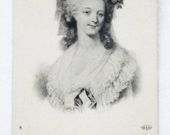 1910s Antique French Postcard  black and white by E. le Delay, (ELD, Paris, France), ft.Marie de Savoie-Carignan, Princesse de Lamballe