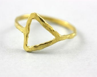 Gold Triangle Ring, Triangle Ring, Geometric Ring, Gold Geometric Ring, Dainty Gold Ring, Simple Minimalist Ring, Stacking Gold Ring, SR0197