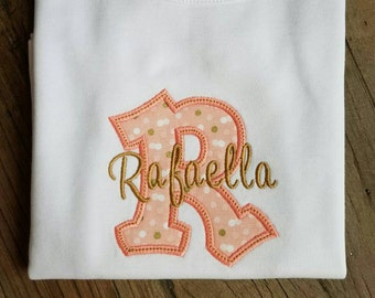 Personalized Girl Shirt with Initial Letter and name in gold - Design available on  all products :)