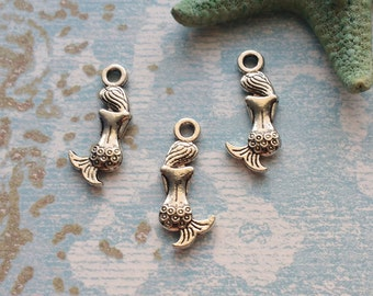 10 Mermaid Charms Silver Shy Mermaid Charm - CS3042