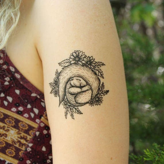 Sleeping Squirrel in a Bed of Flowers, Black Ink Temporary Tattoo