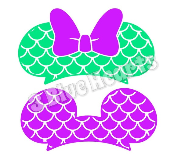 Mermaid Mickey And Minnie Heads Svg Studio Dxf Pdf Jpg