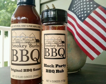 Smokey 'Burbs BBQ: Original BBQ Sauce & Block Party BBQ Combo Pack // Gifts for Cooks // Gifts for Him // Gifts for Dad // Stocking Stuffers