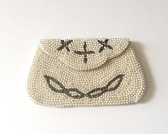 1960s Pearl Bead Clutch / Faux Pearl Handbag / Made in Japan 60s Evening Bag