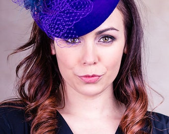 Women's Hat, Women's Fascinator, Mini Hat, Mother of the Bride, Wedding Hat, Purple 'Percher' - Leigh