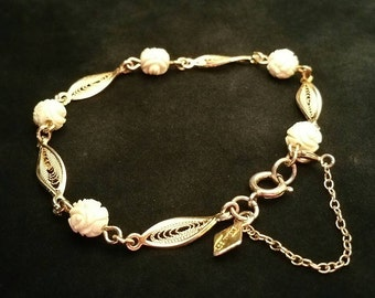Vintage Sarah Coventry Bracelet, Filigree Links and Faux Carved Beads, Safety Chain, Spring Ring Clasp, Gold Tone (H-BRA-159)6p