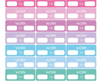 24 x Work Schedule Work TO Hours Total Planner Stickers Organiser Reminder Payday