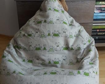 Linen bean bag cover| Bean bag chair cover|  Bean bag| Floor pillow| Kids bean bag| Cotton pouf| Kids room| Nursery decoration| Beanbag