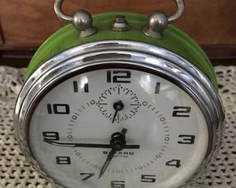 Fabulous 1950's Bayard French Mechanical Alarm Clock, Bright Green