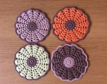 Hand crochet coasters set of 4,doily coasters,vintage home decor,drink coaster,kitchen decor Christmas gift,lovely gift