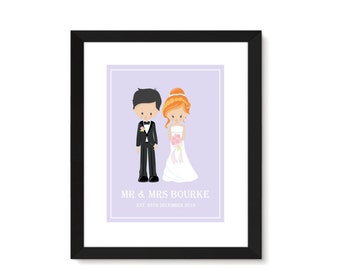 Personalised Wedding Gift, Wedding Present, Thank You Wedding Gift, Wedding Print, Anniversary Gift, Special Couple, Bride And Groom Print