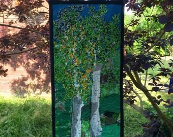 Birch trees. Textile art. Patchwork