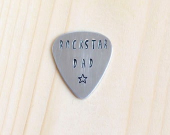 Rockstar Dad Guitar Pick, Hand Stamped Guitar Pick, Rock Star Dad Aluminum Guitar Pick, Dad Gifts, Father's Day Gift, Gift for Dad