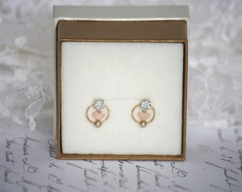 4.00mm (0.25ct each) Very Pale Blue Moissanite Earrings in 9K Yellow and Rose Gold