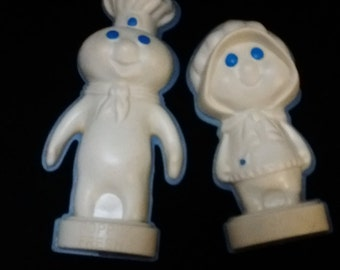 Vintage Pillsbury Magnets Poppin' Fresh Doughboy and Poppie Promotional Magnets - FREE SHIPPING