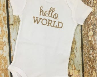 Hello World, Coming Home Outfit, Take Home Outfit, Newborn Outfit, Hello World Newborn Outfit, Baby Shower Gift, Newborn Baby, New Baby