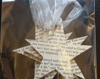 The Great Gatsby Book Christmas Tree Decoration / Literary Bauble Set of 4 Star Hangings