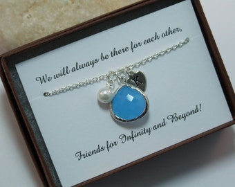 Best Friends Necklace, Sky Blue, Ocean Blue. Tear Drop Necklace,Personalized, Heart Necklace, Mother Daughter Sisters Gift, Valentine's Gift