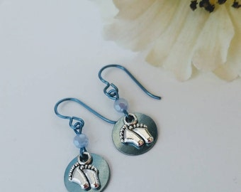 1st Mothers Day Gift  FREE SHIPPING Hypoallergenic New Mom Jewelry Expectant Mom Gift Baby Blue Charm Earrings Sensitive Ears Niobium