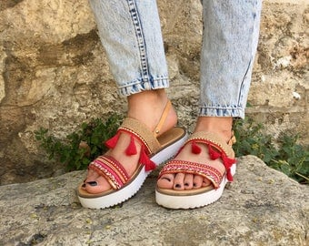 Summer Sandals, Leather Sandals Women, Flat Sandals, Summer Shoes, Made in Greece by Christina Christi Jewels.