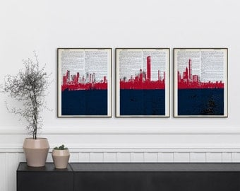 Merveilleux Set Of 3 New England Patriots Dictionary Prints Boston Skyline Patriots  Poster Panorama Boston Panoramic Print