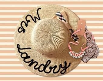 Personalized Sequin Sun Hat | Mrs Sun Hat | Honeymoon Hat | Sequin Message Beach Hat | Sequin Floppy Beach Hat | Bachelorette Party Hat
